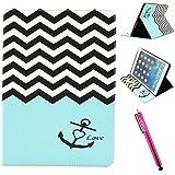 iPad Air Case, Firefish iPad Case [Kickstand] [Bumper] PU Leather Protective Skin Anti-Slip Lightweight [Card Slots] Case for Apple iPad Air - Blue Anchor