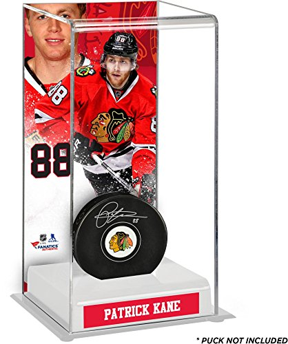 Patrick Kane Chicago Blackhawks Deluxe Tall Hockey Puck Case - Fanatics Authentic Certified - Hockey Puck Display Cases No Logo (5 Hockey Puck Display Case)