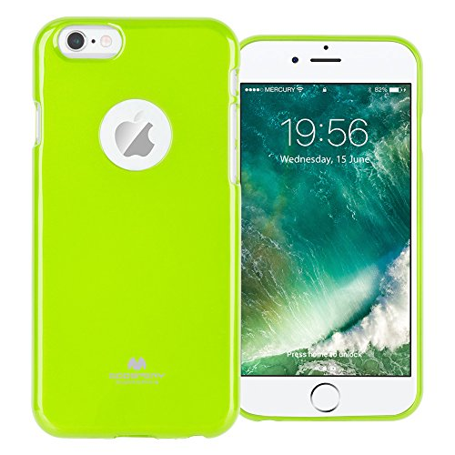GOOSPERY Marlang Marlang iPhone 6/6S Case - Lime Green, Free Screen Protector [Slim Fit] TPU Case [Flexible] Pearl Jelly [Protection] Bumper Cover for Apple iPhone6S 6, IP6-JEL/SP-LIM