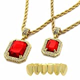 4 piece gold grill - Mens Gold Plated High Fashion Bottom Grillz w/ 2 Pieces Ruby Set 4mm 30