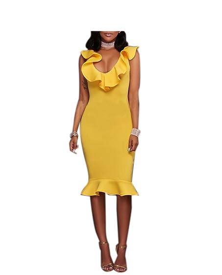 Paule mangas ruffles v neck casual mulheres veste a venda quente padrão sólido verão vestidos clube