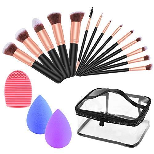 Tophie 18 PCs Makeup Brush Set, Makeup Brush Premium Synthetic Foundation Powder Blush Eyeshadow Kabuki Brushes Makeup Sponges/Clear Travel Bag/Brush Cleaner Mat