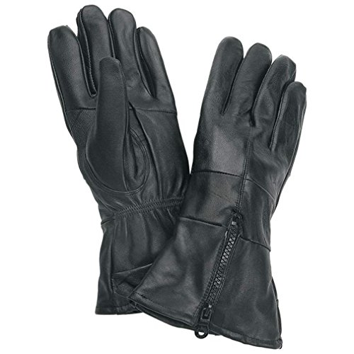 Gauntlet Cuffed Solid Leather Gloves with Zipper XLarge -