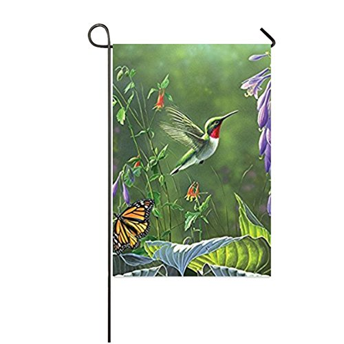 Dong Cun Bai Hummingbird & Hosta Colorful Garden Yard Decorations Holiday Seasonal Outdoor Flag Garden Flag 12
