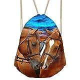 Cheap Showudesigns Unique Horse Drawstring Bag Kids Boys Outdoor Travel Storage Daypack