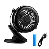 USB Clip Desk Mini Fan for Personal Table - Quiet, Portable, Multi-angle Rotation, 2 in 1 Applications, Strong Wind for Baby stroller, Car, Office, Home, Outdoor (USB fan with battery)