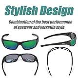 Duduma Tr8116 Polarized Sports Sunglasses for Baseball Cycling Fishing Golf Superlight Frame (Black matte frame with green lens)