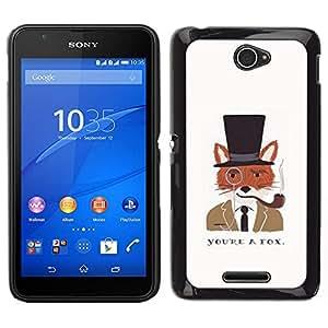 Caucho caso de Shell duro de la cubierta de accesorios de protección BY RAYDREAMMM - Sony Xperia E4 - Un caballero Dibujo Fox Clever