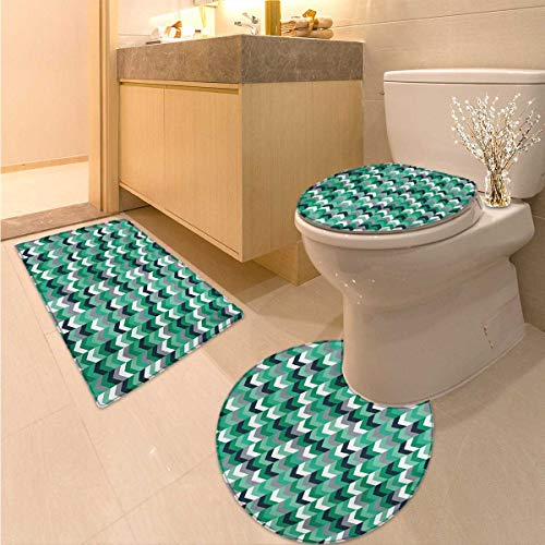 (Anhuthree Chevron Toilet Rug and mat Set Arrow Symmetric Zig Zag Lines in Mix Featured Abstract Image Elongated Toilet Lid Cover Set Dimgrey Forest Green Seafoam)