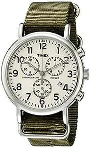 Timex Men's TW2P71400 Weekender Chrono Green Nylon Slip-Thru Strap Watch