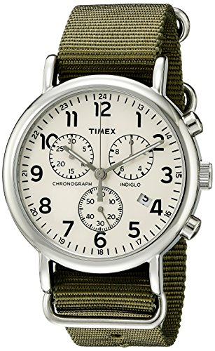 Timex Men's TW2P71400 Weekender Chrono Green Nylon Slip-Thru Strap Watch