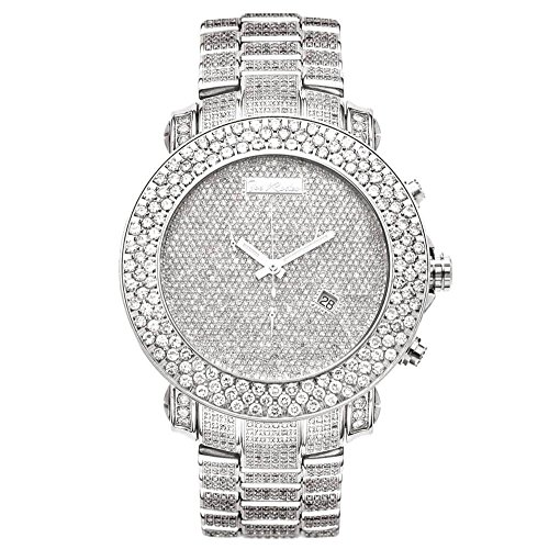 Joe Rodeo RJJU50 Junior Diamond Watch, White-Encrusted Dial with Silver Paved Band