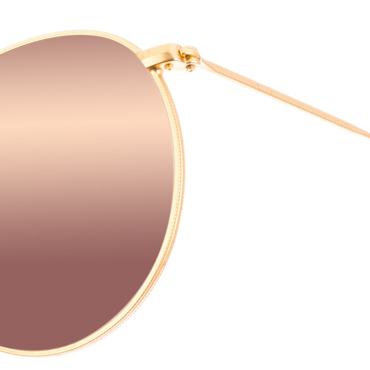 Ray-Ban RB3447 112/Z2 ROUND METAL - MATTE GOLD Frame BROWN MIRROR PINK Lenses 50mm Non-Polarized
