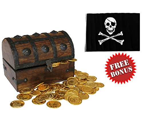 Nautical Cove Wooden Pirates Treasure Chest Box with a FREE Pirate Flag and Gold Coins (Medium 6.5