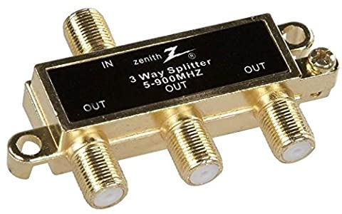 New Zenith Vs1001sp3w Gold 3 Way 900mhz Coax Tv Video Cable Splitter 6320345