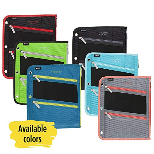 - Five Star Zipper Pouch, Pencil Pouch, Pen Holder, Fits 3 Ring Binders, Assorted, Color Selected For You, 1 Count (50642)