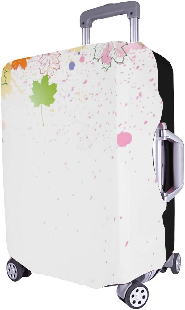 Autumn Abstract Leafs Spandex Trolley Case Travel Luggage Protector Suitcase Cover 28.5 X 20.5 Inch