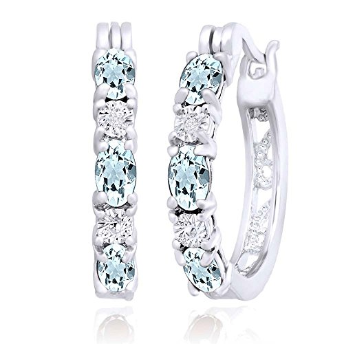 Mothers Day Jewelry Gifts Simulated Aquamarine CZ & White Natural Diamonds Accents Hoop Earring in 925 Sterling Silver (2.85 ()
