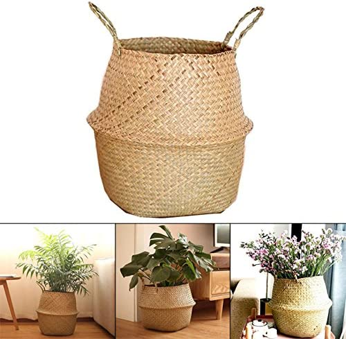 Seagrass Wickerwork Basket Hanging Flower Pot for Storage Plant Pot Basket and Laundry Picnic and Grocery Basket Deusa Woven Seagrass Belly Basket