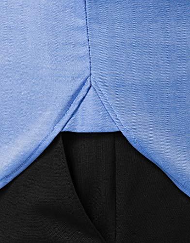 Normale Vincenzo Unita fit Tinta Lunga Manica non Taglio Boretti iron Collo Camicia Stiro Eleganti In regular Non blu 1 Classico Uomo XXrF1