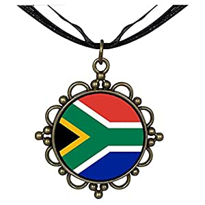 Chicforest Bronze Retro Style South Africa flag Round Flower Pendant