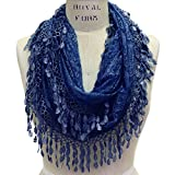 Scarfand's Delicate Lace Infinity Scarf with Teardrop Fringes (Dark Blue)