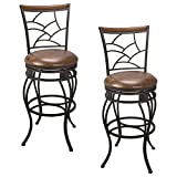 Kira Home Monarch II 30″ Classic Swivel Bar Stool, Old Steel Finish, Brown Faux Leather Seat, Set of 2 For Sale