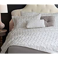 """Adream Faux Silk Cotton Floral Pattern Bedspreads Quilted Bedspread Wedding Home Textile Coverlet Solid Color Couvre-lit, King (94""""x102"""") (White, 3PCS)"""