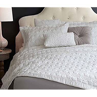 Adream Faux Silk/Cotton Floral Pattern Quilted Bedspread Coverlet Quilt Comforter, Queen (86 *94 ) (3PC, White)