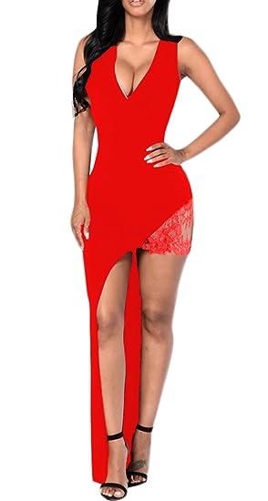 Mujer Vestidos De Fiesta para Bodas Elegantes Fashion Encaje Splicing Irregular Asimétrica Vestido Coctel Sin Mangas