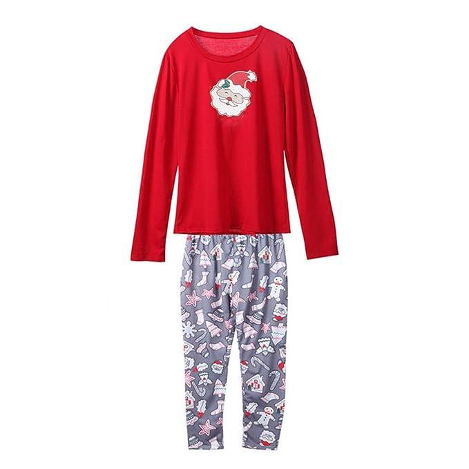 Darringls Conjunto de Pijamas Familiares de Navidad, Pijama Papá Noel Imprimir Muñeco de Nieve Top + Pantalones Padre Mamá Bebé Ropa Familiar Hombre ...