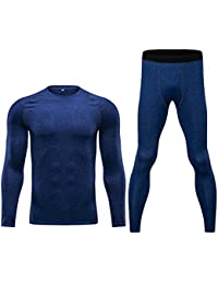 Men's Long Sleeve Athletic Compression Baselayer Sport Legging Pants Bottom T Shirt Tops Suit