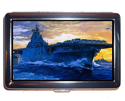 Cigarette Hard Box and Holder,Aircraft Carrier USS Yorktown Business Credit ID Card Holder (King Size)