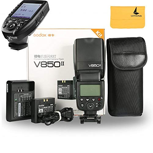 Godox V850II GN60 2.4G 1/8000s HSS Camera Flash Speedlight with 2000mAh Li-ion Battery Features 1.5s Recycle Time and 650 Full Power Pops for Nikon,Godox XPro-N Flash Trigger for Nikon DSLR Camera