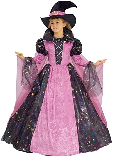 Halloween Girl/'s Pink Witch Costume with free Witches Hat and mini Treat Bag