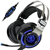 Computer Gaming Headset by ENHANCE - SCORIA USB PC Gaming Headset with 7.1 Surround Sound , Bass Vibration , Adjustable LED Lighting , Volume Control and Retractable Microphone - TeamSpeak Certified