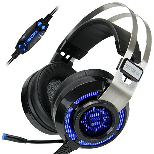 (REFURBISHED) ENHANCE Scoria Computer Gaming Headset Headphones with USB 7.1 Surround Sound , Bass Vibration , 6 Setting Adjustable LED Lighting , In-Line Controls & Retractable Microphone