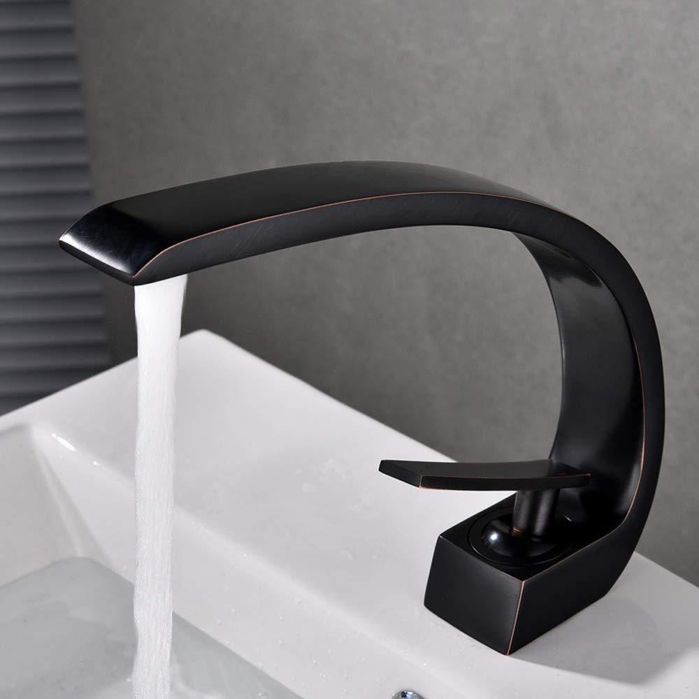 Fini Chrome Laiton Blanc Mousseur ABS D/émontable Mitigeur Lavabo pour Salle de Bain Baignoire et Cuisine KUNGYO Robinet en Laiton Monotrou Poign/ée Simple