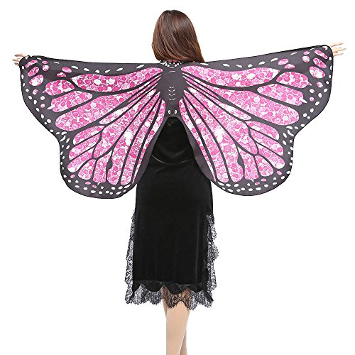 FarJing Women Shawl Scarves Ladies Butterfly Wings Nymph Pixie Poncho Costume Accessory(Hot Pink) -
