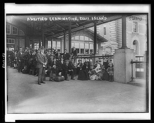 Historic Photos 1907 Photo Awaiting Examination, Ellis Island Location: Ellis Island, New Jersey, New York