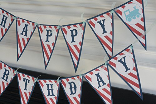 Happy Birthday Navy Red & Light Blue Stripe Pennant Vintage Train Choo Choo Boy Theme Banner - Matching Items Available - Signs, Favor Tags, Cupcake Toppers etc. (Pennant Train)