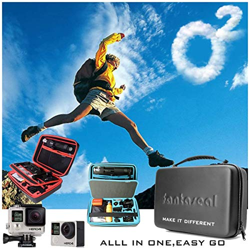 Action Camera Mounts Accessories Hand Bag, Carrying Case Dual-Layer Waterproof Anti-impact Travel Suitcase Action Camera Carry Case Compatible for GoPro Hero 7 6 5 4 3+ 3 Sony Yi etc -13