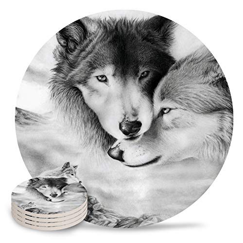 Chic D Absorbent Drink Coasters Wild Animal, Funny Stone Ceramic Coasters Set with Cork Back Base Backing for Kinds of Mugs and Cups, Set of 4-Piece, Wolf Couple White Romantic (Furniture Bar Grill Factory And)
