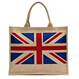 Large Eco-friendly UK British Union Jack Flag Printed Jute Tote Bag