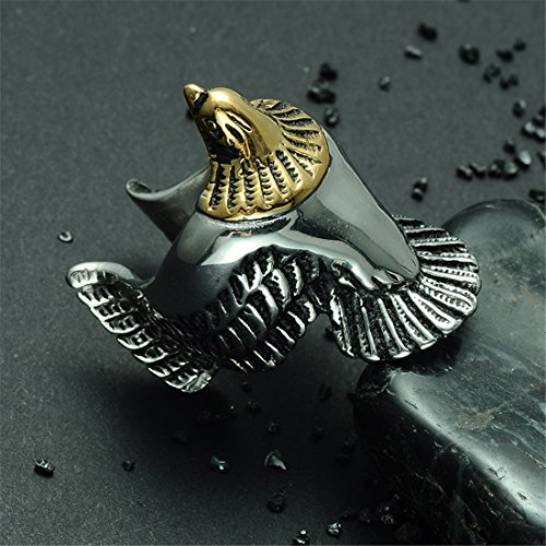 Qiao La Hip Hop Black Stainless Steel Open Wing Eagle Ring QL253