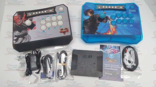 Memory Pandora Stick - Pandora Box 5 Wireless Arcade 960 Games Controller Joystick kit for XBOX360 PS3 PC Games Fighting 2 Players Wireless Stick (Black & Blue)