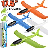 """Toys : 4 Pack Airplane Toys, 17.5"""" Large Throwing Foam Plane, 2 Flight Mode, Foam Gliders, Flying Aircraft, Birthday for Kids 3 4 5 6 7 8 9 Year Old Boy,Outdoor Sport Game Toys, Party Favors"""