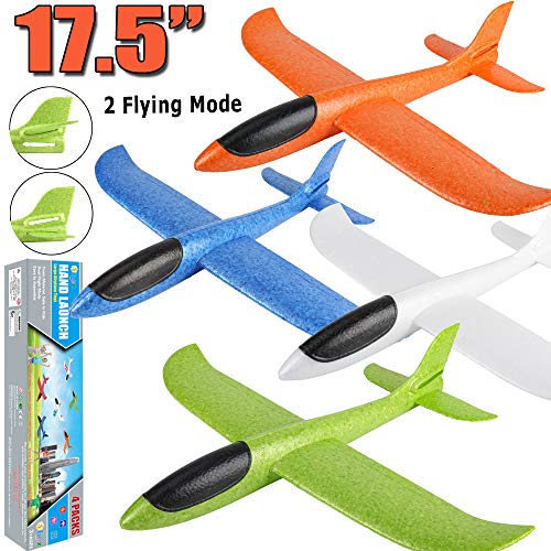 4 Pack Airplane Toys, 17.5″ Large Throwing Foam Plane, 2 Flight Mode, Foam Gliders, Flying Aircraft, Birthday for Kids 3 4 5 6 7 8 9 Year Old Boy,Outdoor Sport Game Toys, Party Favors
