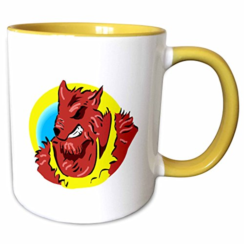 3dRose Susans Zoo Crew Holidays Halloween - werewolf yellow shirt head graphic - 11oz Two-Tone Yellow Mug (mug_178402_8)
