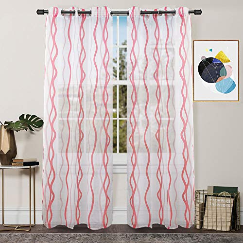(FY FIBER HOUSE Semi Sheer Voile Window Curtains for Living Room, 2 Panels,54 by 84-Inch, Pink Wave)